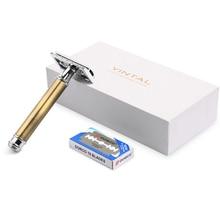 1 Бритва, 10 лезвий, новые бритвы для бритья, сменные лезвия для коньков, Бронзовый стиль, латунная ручка, двойная кромка, безопасная бритва