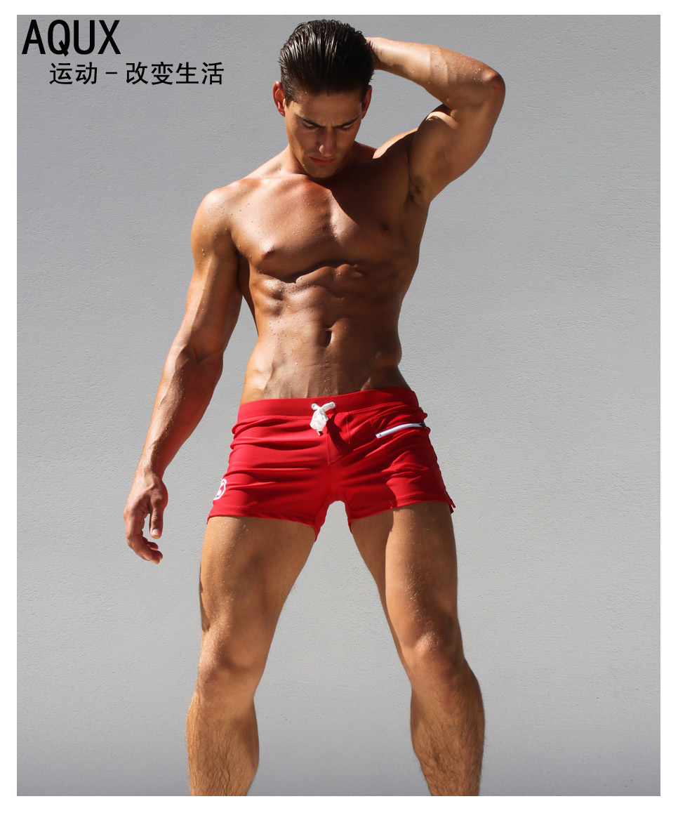 88d3b984941f4 AQUX Brand New Mens Sexy Low Rise Swimwear Nylon Breathable Gay Swimming  Trunks Fashion Swimsuit Board Short Bikini Swim Trunks-in Men s Costumes  from ...
