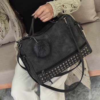 Bolish Vintage Nubuck Leather Female Top-handle Bags Rivet Larger Women Bag 6