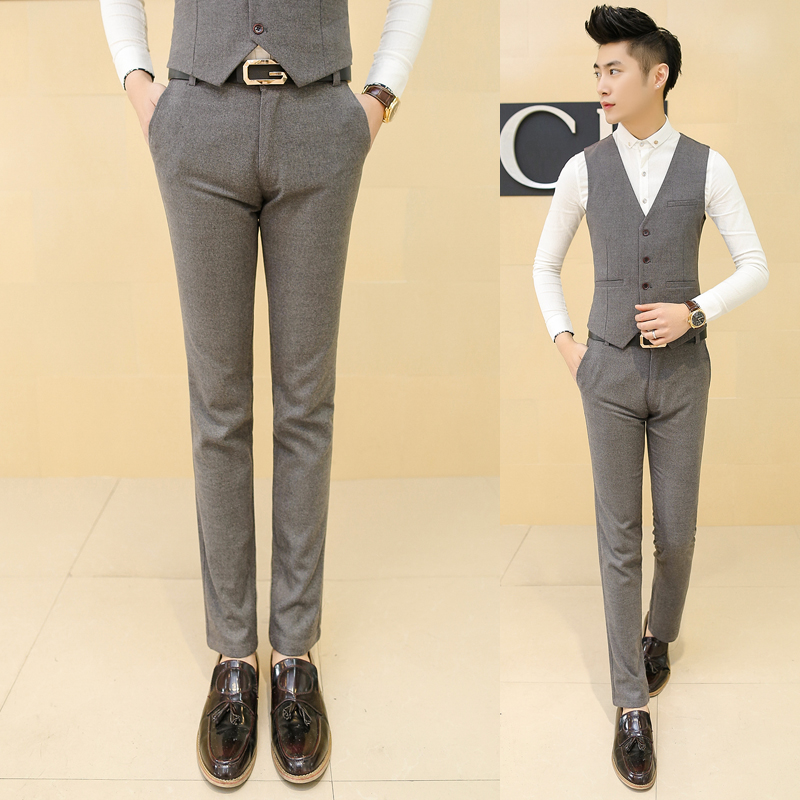 new 2018 mens fashion boutique cotton pure color fashion formal business pants / Male high-end height slim leisure pants Mens