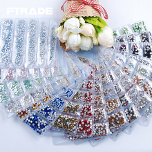 17 Color Glass Crystal 1728Pcs/Pack 6 Size 3D Nail Art Rhinestones Flatback Non Hotfix Stones Strass For DIY Nails Decorations