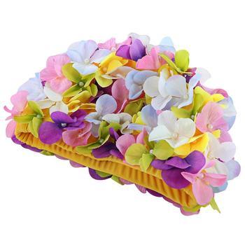 긴 머리 야외 5 색에 대 한 개인화 된 3 차원 꽃잎 수영 모자 여성 꽃 디자인 모자 섬세 한 수영 모자