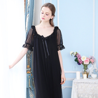 Sweet Cute Puff Sleeve Lace V Neck Women Long Nightgown Woman 2018 Pyjamas Summer Vintage Girl Sleepwear Dressing Gown YC208