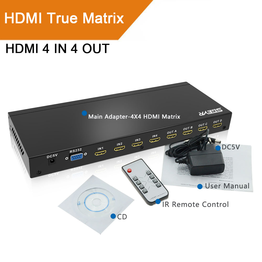 SGEYR HDMI Switch Splitter 4x4 Matrix with Remote control RS 232 and Power Adapter Support Full