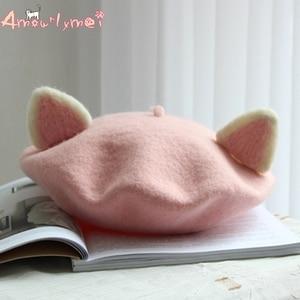 Amourlymei Sweet Princess Lolita Hat Japanese Style Mori Girl Kawaii Cat Ear Hat Winter Woolen Warm Beret Manual Wool Beret Cap(China)