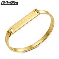 Enfashion Personalized Engraved Name Bracelet Gold Plated Bar Bangle Bracelets For Women Cuff Bracelets Bangles Custom