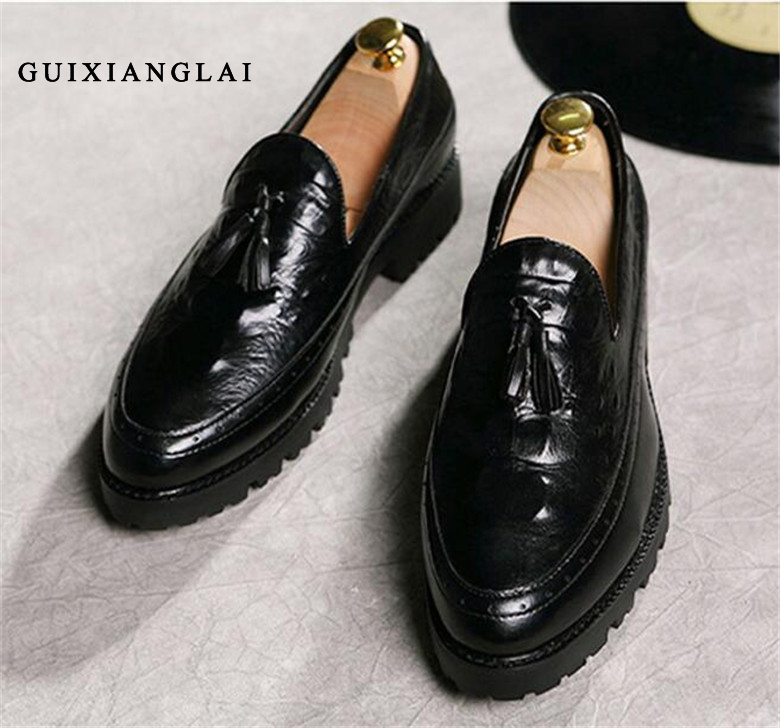 ФОТО Fashion Oxford Shoes Homme Cow Leather Loafers British Crocodile Grain Flats Oxfords Men Dress Wedding Shoes Sapatos Masculino