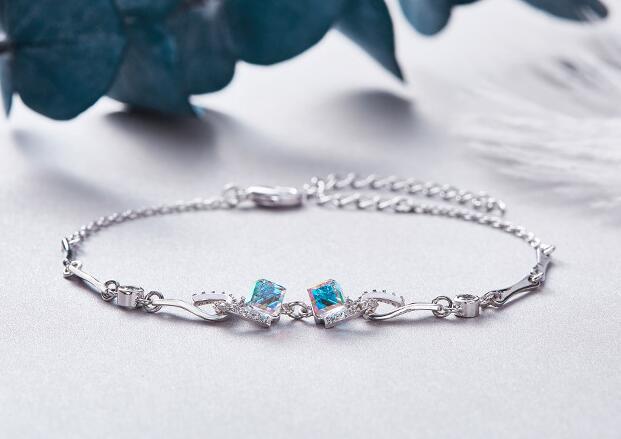UXN73   Crystal Bracelet 925 Silver Zircon Lady Hand Jewelry Wedding Birthday Gift UXN73   Crystal Bracelet 925 Silver Zircon Lady Hand Jewelry Wedding Birthday Gift