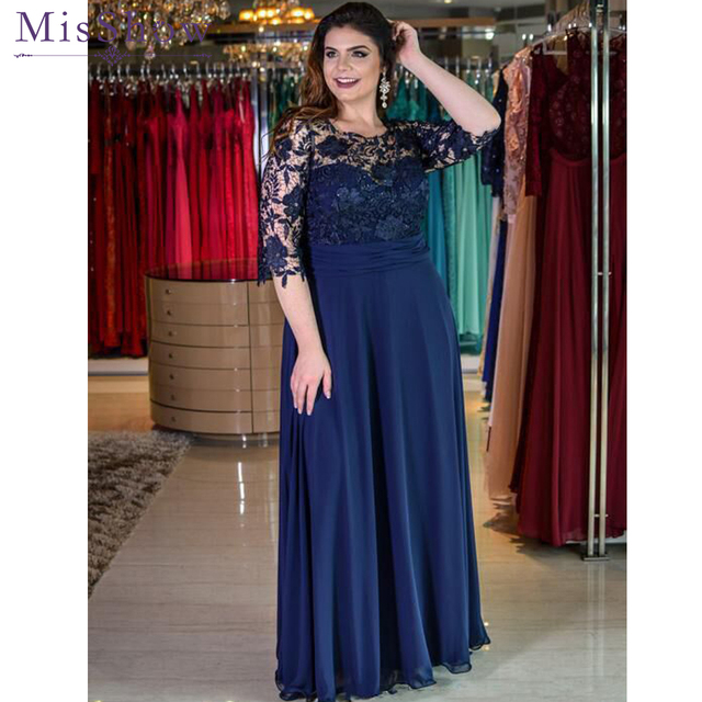 Charm Chiffon Lace Bridesmaid Dress Plus Size Long Navy Blue Wedding