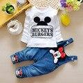 Varejo! Menina Roupa do bebê 2016 Nova Primavera Da Marca de Roupas Terno Para O Bebê Recém-nascido Dos Desenhos Animados Camisa + Suspender Calças frete grátis