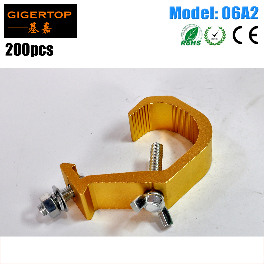 TIPTOP 06A2 200PCS 3cm Wide C Clamp Hook Polished Aluminum Alloy Stage Light Tool For DJ Disco Lighting Yellow Color Polishing