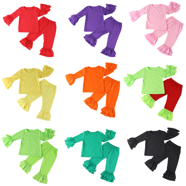 Sale New Children Clothing Set, Girls Clothing Girl Ruffle Shirt+pants Undershirt,kids Pajama Set For Autumn,baby Clothes