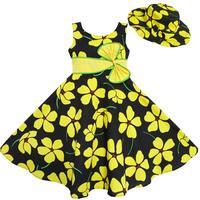 2 Pecs Girls Dress Sun Hat Bow Tie Yellow Summer Beach Kids Clothing 4 12