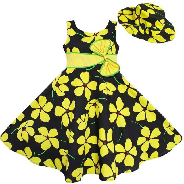 Sunny Fashion платья для девочек 2 Печ солнце Шапка Лук Наконечник Желтый Лето Пляж