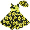 Sunny Fashion Vestidos niña 2 Pecs Sol Sombrero Bow Corbata Amarillo El verano playa