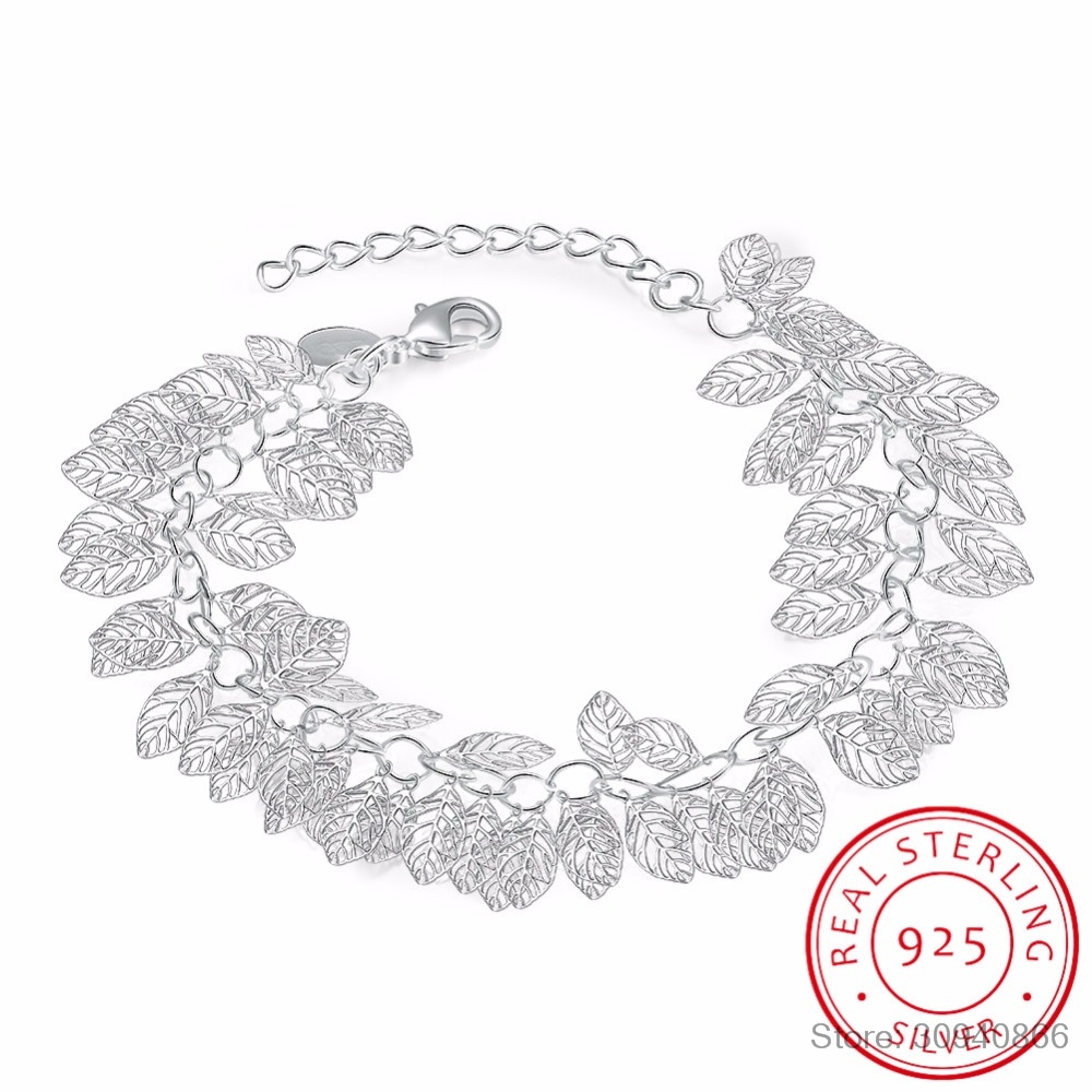 Real 925 Sterling Silver Hollow Leaves Charm Bracelet Minimalist Fine Jewelry For Women Engagement Party Cute Accessories Gift