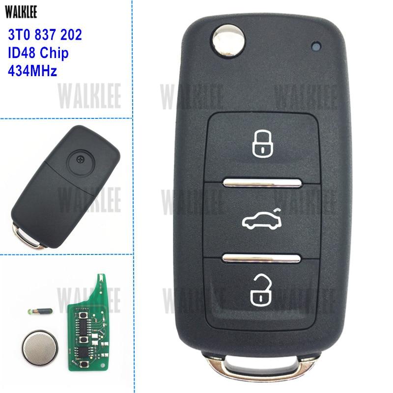 WALKLEE Remote Key Fit for Skoda Car SKODA Citigo/Fabia/Octavia/Rapid/Roomster/Superb/Yeti 3T0 837 202 / 3T0837202