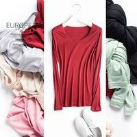 Women Basic Shirt 100 REAL SILK T Shirts Solid Long Sleeved O Neck Shirt Healthy Natural