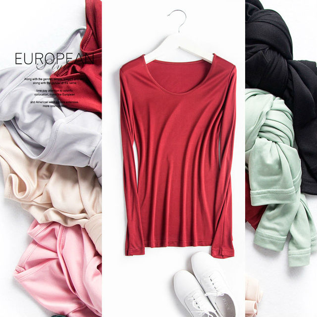 Women Basic shirt 100%REAL SILK T shirts Solid long sleeved O neck shirt Healthy natural fabric TOP 2017 Spring New