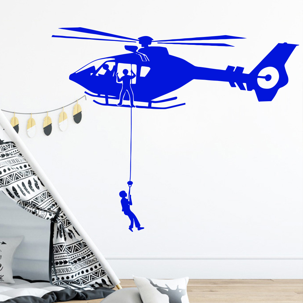 Details About Cartoon Air Force Helicopter Vinyl Wall Sticker Removable For Kids Room House