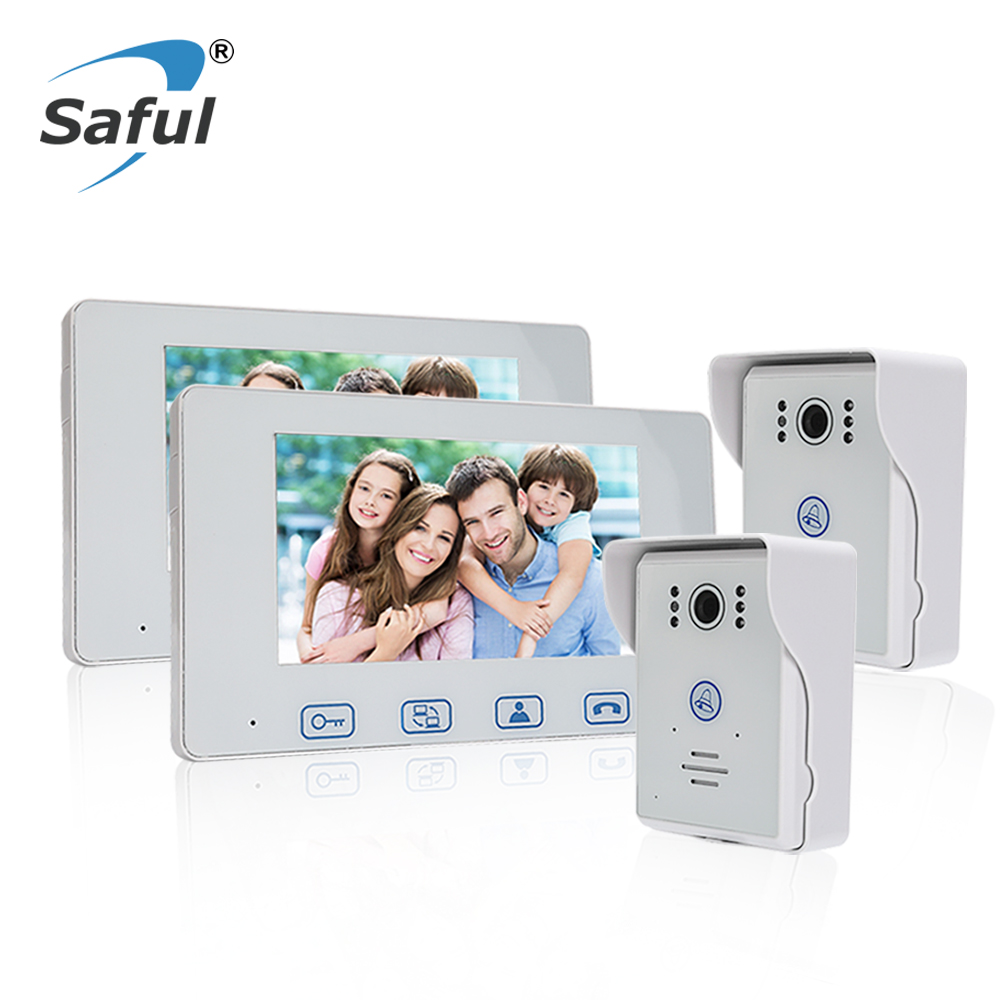 Saful 7 Screen Wired Video Door Phone Intercom System Unlock Function Night Vision 2 Waterproof Door Camera + 2 Monitor saful 7 inch lcd wired video door phone intercom waterproof night vision button electric lock control function free shipping