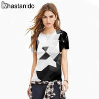 Women Tops Geometric 3d Print Tee Shirt Casual Short Sleeve O Neck Plus Size Shirts Punk