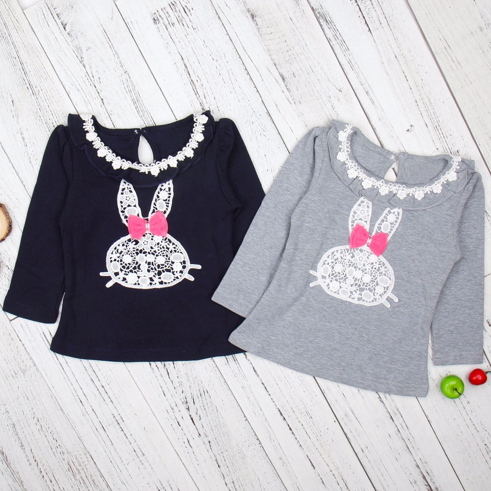 2017 Hot Sale! Casual Lovely Girls Lace Cartoon Rabbit Print Dark Blue Gray Long Sleeve Girls Tees Autumn Kid Girls Tshirt Baby