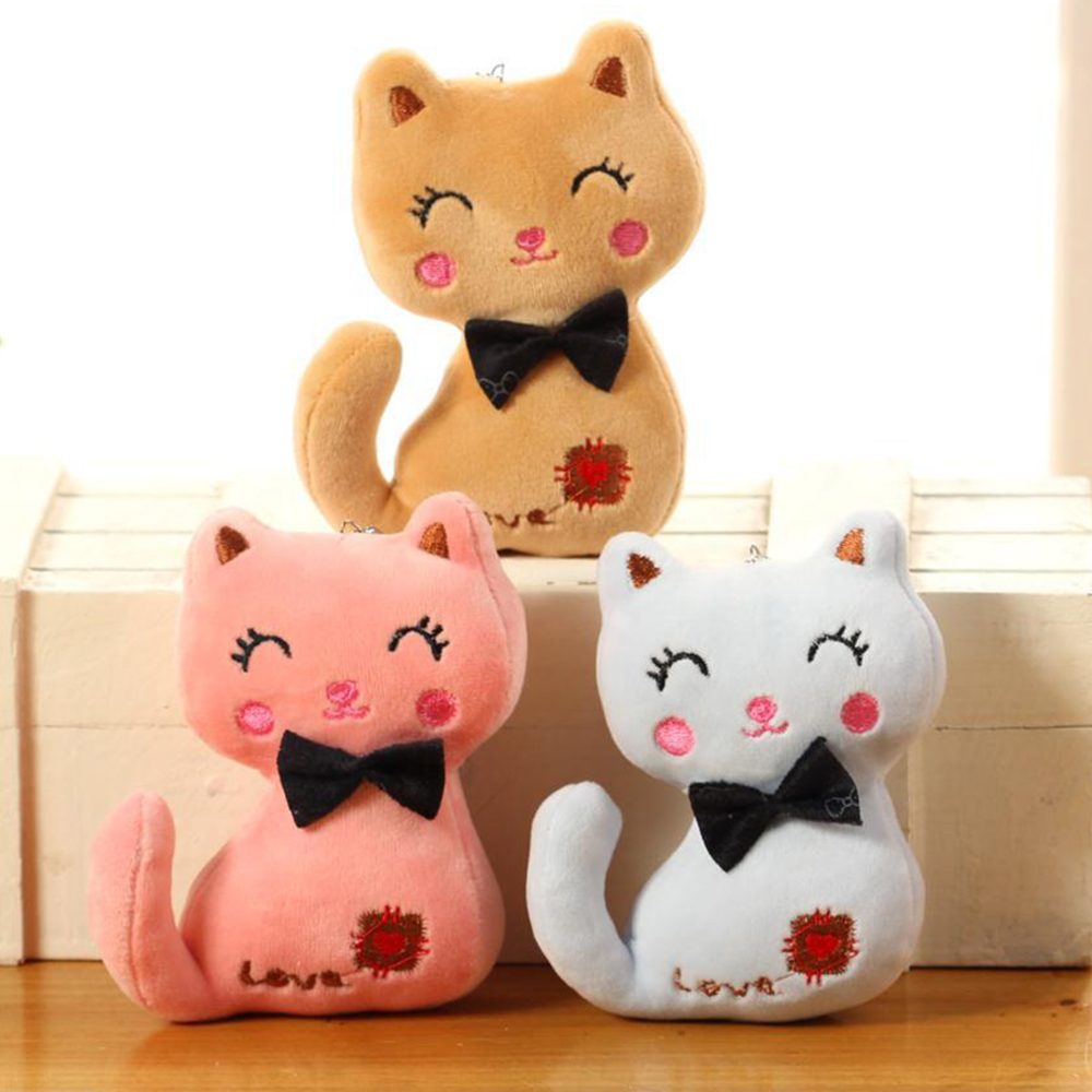 3Colors , Little Size 8CM NEW Cat Plush , Animal Stuffed Kitty Cat Key Chain TOY, Kid's Party Plush TOY , Baby Plush Dolls