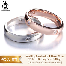 Rose Gold Color&Silver Color Wedding Bands with 4 Pieces Clear CZ Bezel Setting Lover's Ring