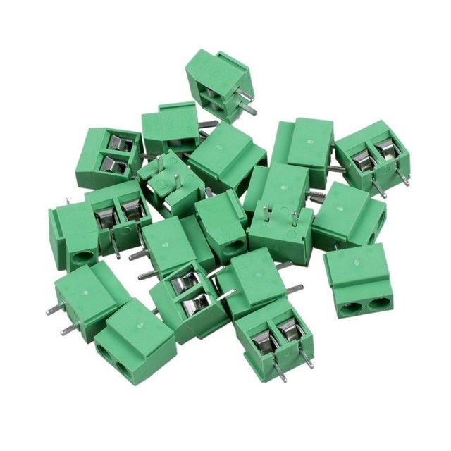 T-Best en Aliexpress promoción 20 piezas 2 polos 5mm paso PCB montaje tornillo bloque TermInal 8A 250 V