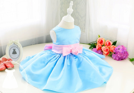 2017 sky blue satin baby girl dress with pink bow ball gown evening prom dresses 1st birthday party gown vestido infantile ball gown sky blue open back with long train ruffles tiered crystals flower girl dress party birthday evening party pageant gown