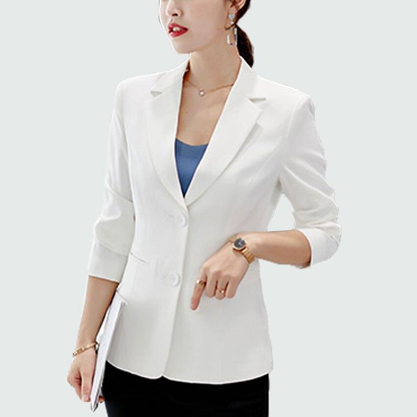 Ladies Office Style White / Black Blazers 2018 Autumn Long Sleeve Slim Fit Ol Suit Tops Outwear Blazer Feminino Jacket Female jeans con blazer mujer