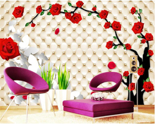 beibehang Formaldehyde-free custom 3d wallpaper tree rose petals 3D stereo soft pack TV background wall papers home decor behang