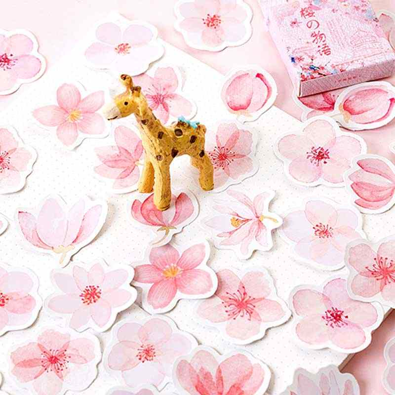 4 Flower Sticker DIY Petal Stickers for Scrapbooking Daisies Masking Tape Decorative Decals Bullet Journal Leaves Sticker Set Planner 4 Pack of 184 Stickers,Cherry Blossoms Diary