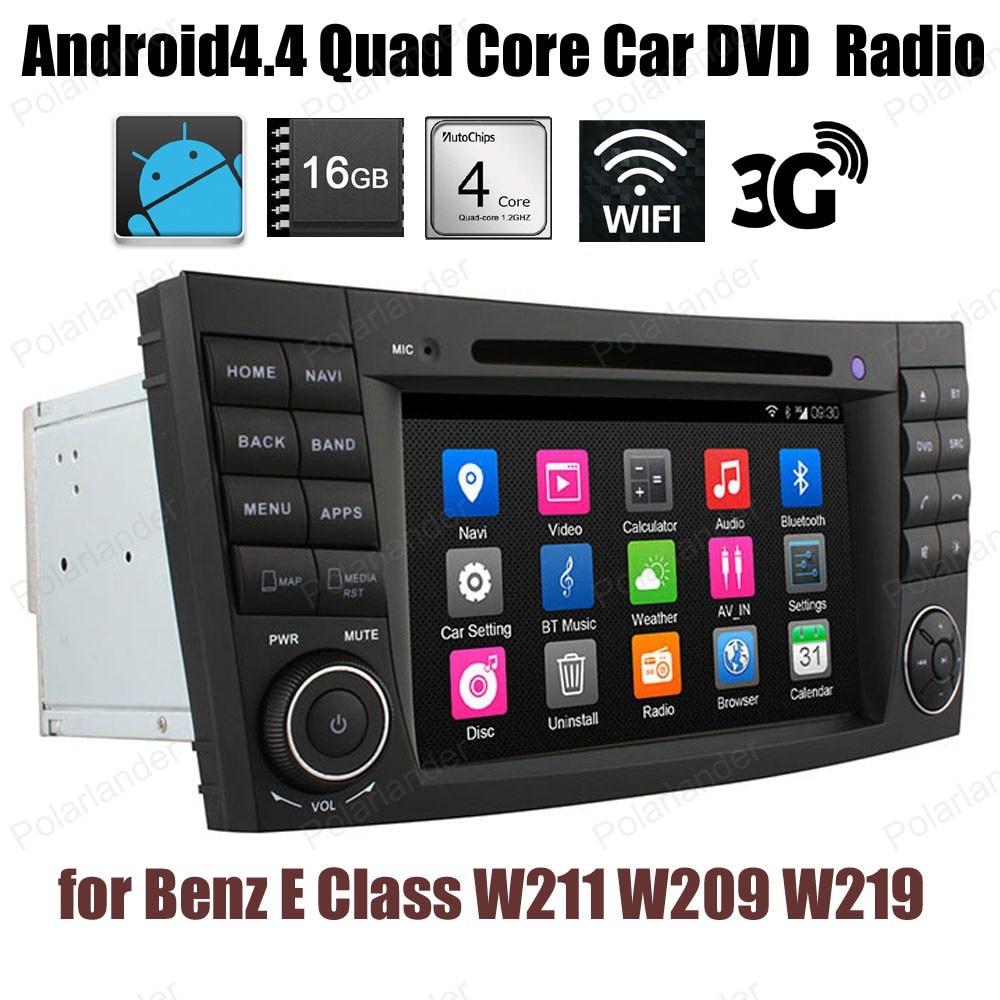 7 pouces Android4.4 radio Quad Core voiture DVD Support GPS 3G WiFi BT DAB + TPMS pour B/enz E C/indeau W211 W209 W219 audio stéréo