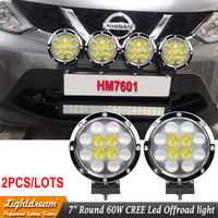 4x4 led work lights Car Round led driving lights 60W Led spotlights 7 inch Round Chrome led offroad lights x2pcs free shipping