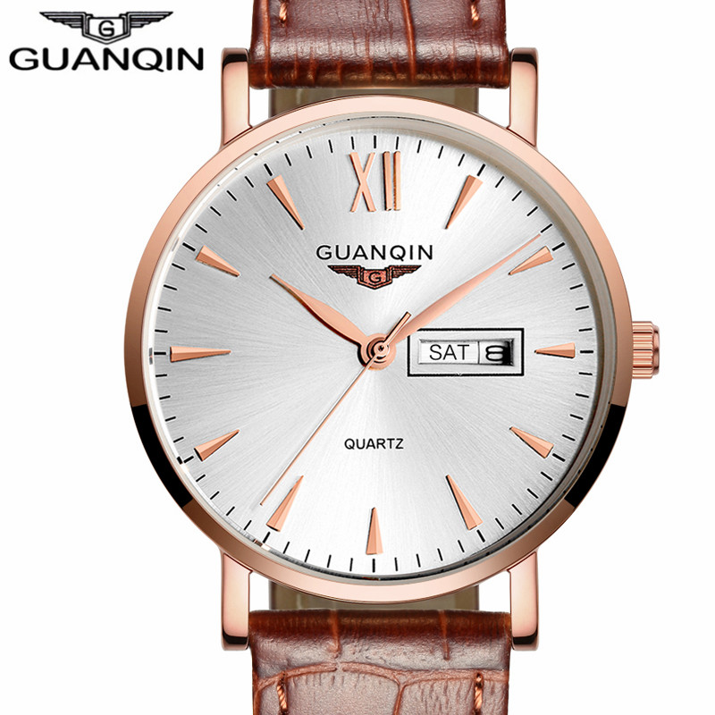 Watch Men Luxury Brand GUANQIN Mens Sport Watches Fashion Casual Leather Strap Quartz Watch Date Wristwatch relogio masculino майка print bar ford mustang shelby gt500 [шредер]