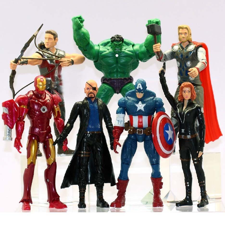 7Pcs/Set <font><b>The</b></font> <font><b>Avengers</b></font> Batman Black Widow Hulk Iron Man Captain America Thor Spiderman PVC <font><b>Figure</b></font> <font><b>Toy</b></font> Doll 15cm WJ429