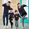 2017 suéter mommy and me madre hija de algodón ropa de moda a juego de ropa de la manga completa floral 5353