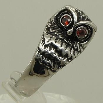 Bonito búho de piedra Circonia cúbica roja 316L anillo de acero inoxidable tamaño 8/9. 2g