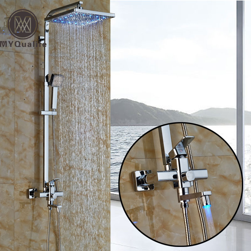 New Led Light In-wall Swivel Tub Spout +12 Square Shower Head + Hand Shower Bathroom Shower Faucet Taps Single Handle