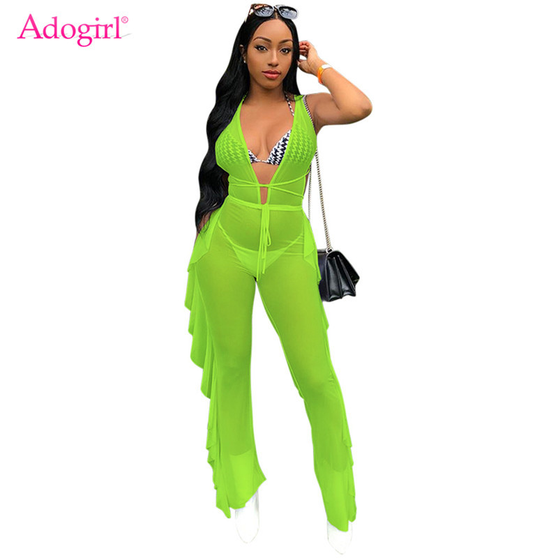 Adogirl Fluorescent Color Sheer Mesh Ruffle Jumpsuit Women Sexy Deep V Neck Sleeveless Party Romper Night Club Overalls Outfits in Jumpsuits from Women 39 s Clothing