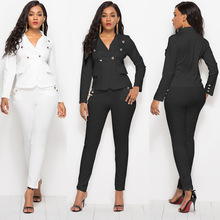 New hot fashion personality casual Slim solid color single buckle high waist slim tight sexy office womens suit