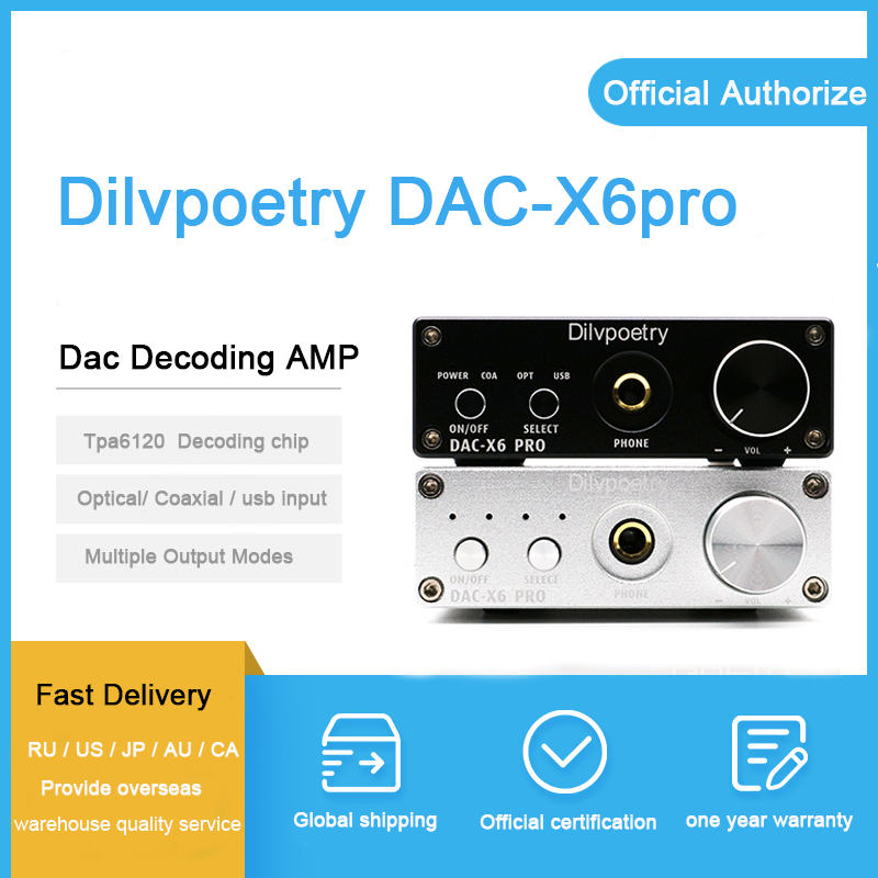 Dilvpoetry DAC-X6pro casque amplificateur dac ampli tpa6120 décodeur amplificateur audio Préamplificateur bureau ampli casque