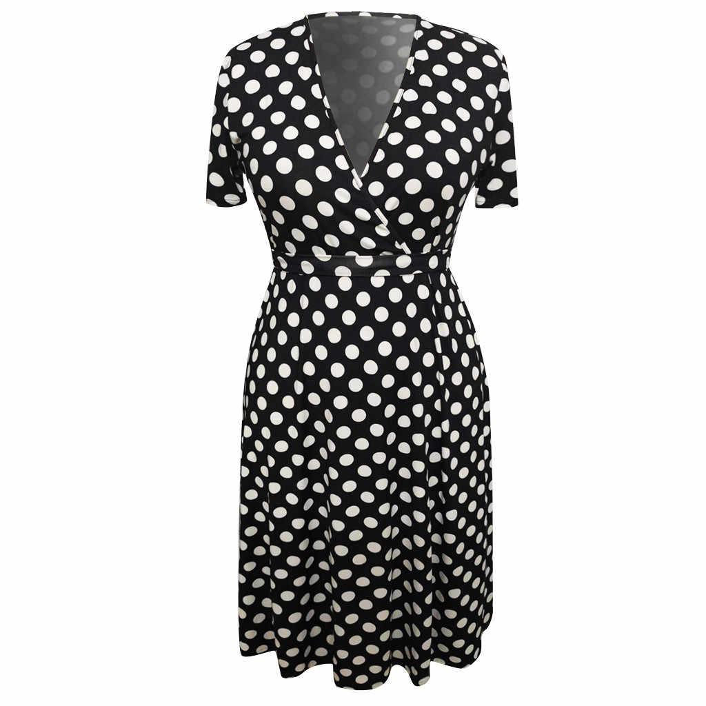 Женское платье с v-образным вырезом, с коротким рукавом, в горошек, с принтом, с поясом, повседневное летнее платье трапециевидной формы для дам, с высокой талией, элегантное, плюс размер