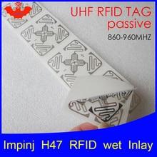 RFID метка UHF стикер Impinj H47 мокрой инкрустация 915 МГц 900 868 МГц 860-960 МГц Higgs3 EPCC1G2 6C Смарт клей пассивный RFID метки RFID этикетка