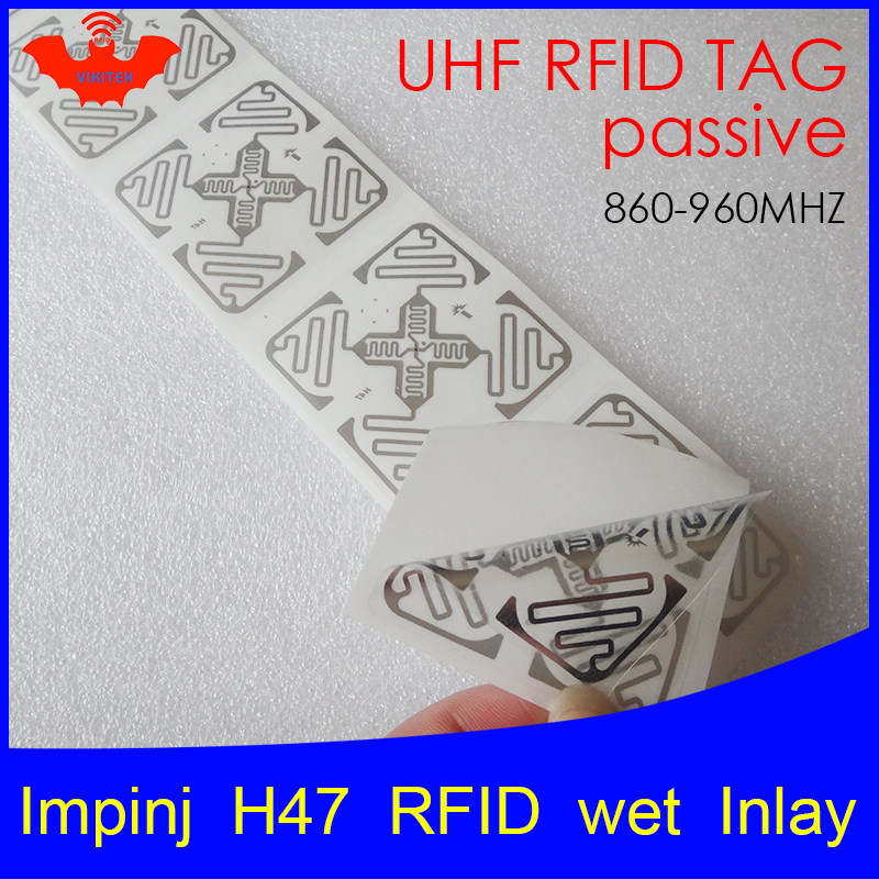 UHF RFID Tag Sticker Impinj H47 Wet Inlay 915mhz 900 868mhz 860-960MHZ Higgs3 EPCC1G2 6C Smart Adhesive Passive RFID Tags Label