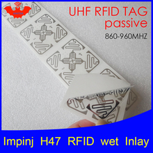 Impinj H47 UHF RFID wet inlay 860-960MHZ Monza4 915M EPC C1G2 ISO18000-6C (can be used to RFID tag and RFID label) H47 uhf rfid tag heat and water resisting epc 6c 915mhz868mhz860 960mhz h3 20pcs free shipping smart passive pps rfid laundry button