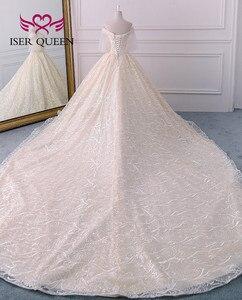 Image 3 - Di alta qualità di Lusso Dubai Abito Da Sposa 2020 Abito di Sfera Treno Lungo Del Manicotto Del Chiarore Perle Ricamo Abito Da Sposa Vestito Da Sposa WX0121