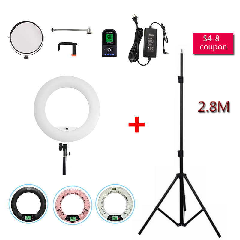 Yidoblo White FE-480II Studio 5600K Bio-clolor Photographic Ring Light + Tripod Kit 480 LED RC Video Light Lamp LCD Lighting